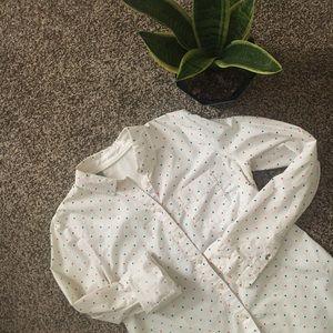 JCPenney 100% Cotton White Pattern Shirt